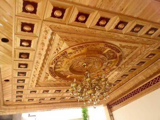 khắc CNC trên gỗ cho trần nhà